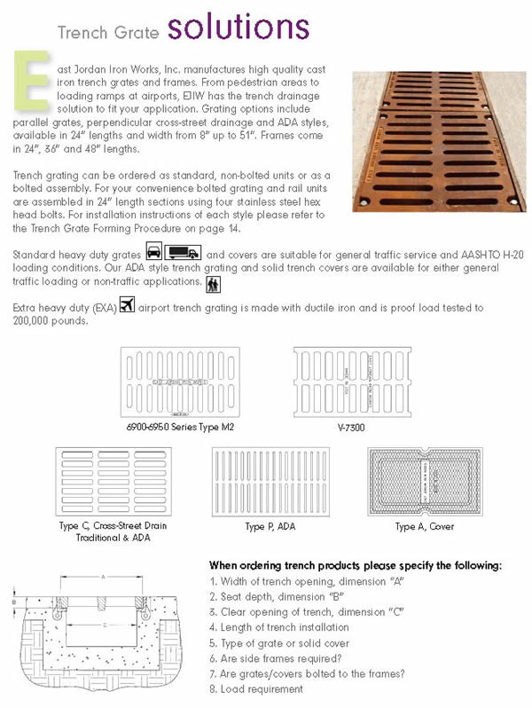 East Jordan Manufacturer Info Page 6900 6950 7300