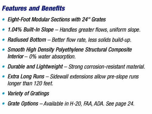 Z882 Trench Drain Features and Benefits