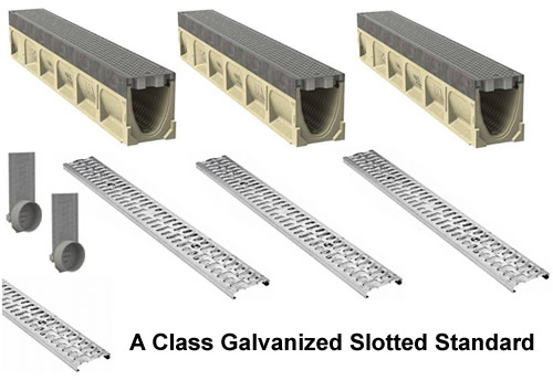 "4"" Wide K100 Galvanized Edge Polymer Concrete Trench Drain Kit - 50 Foot Complete"