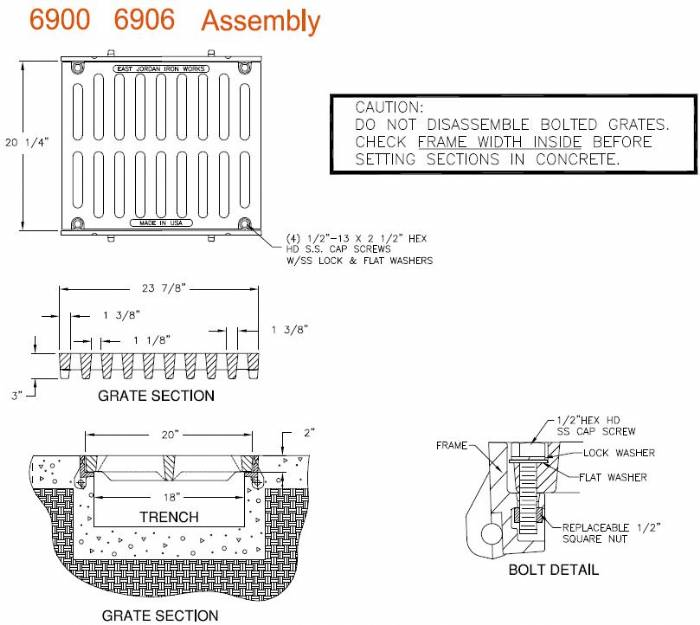 6906m2 Bolted 20 Quot Wide Frame And Grate Bolted Assembly 2
