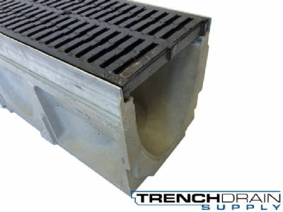 "8"" Wide Galvanized Edge Polymer Concrete Trench Drain Kit - 36 Foot Complete"