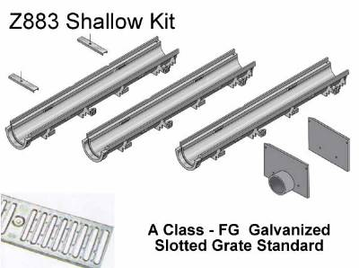 "6"" Wide Zurn Z883 Shallow Trench Drain Kit 20 Foot Complete"