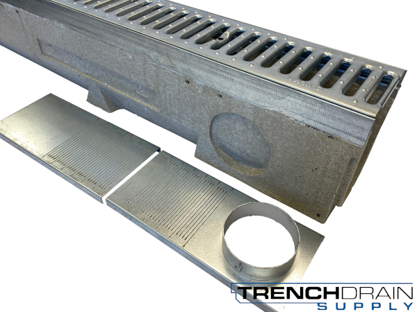 "4"" Wide U100K Galvanized  Edge Polymer Concrete Sloped Trench Drain Kit - 40 Foot Complete"