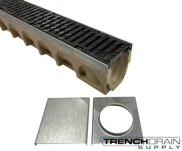 "4"" Wide Multi V Galvanized  Edge Polymer Concrete Sloped Trench Drain Kit - 03 Foot Complete"
