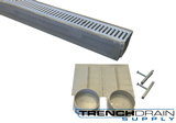 "6"" Wide Polycast 600 Poly Concrete Trench Drain Kit 4 foot Complete"