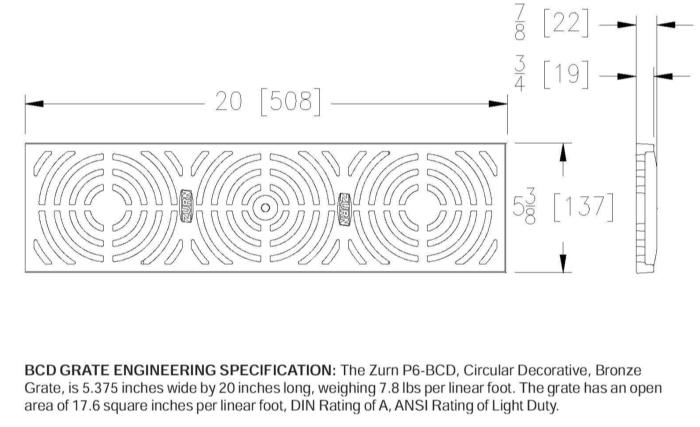 Z886 Bcd Zurn P6 Bcd Bronze Circular Diagonal Decorative