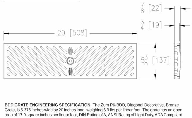 Z886 Bdd Zurn P6 Bdd Bronze Diagonal Decorative Grate By