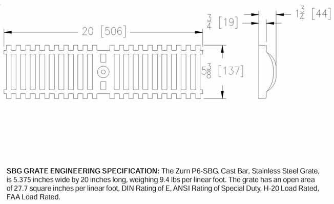Z886 Sbg Zurn P6 Sbg Stainless Steel Bar Grate By Trench
